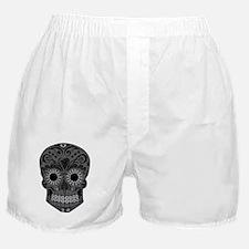 Black And Grey Sugar Skull Boxer Shorts
