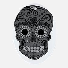 Black And Grey Sugar Skull Oval Ornament