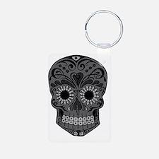 Black And Grey Sugar Skull Keychains