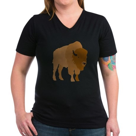 Buffalo Women's V-Neck Dark T-Shirt