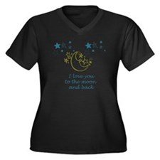Moon and Bac Women's Plus Size Dark V-Neck T-Shirt