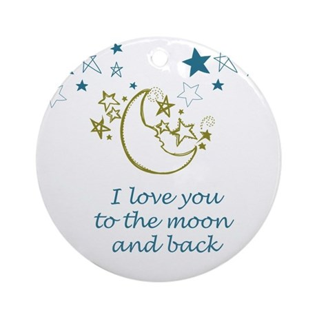 Moon and Back Round Ornament