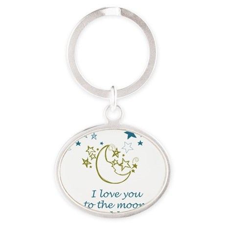 Moon and Back Oval Keychain