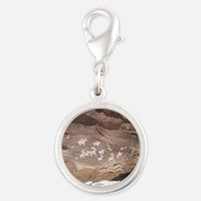 Native American Indian Rock Ar Silver Round Charm