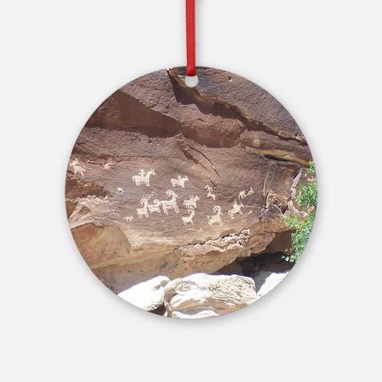 Native American Indian Rock Art - P Round Ornament