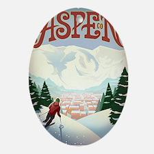 Retro Aspen Colorado Oval Ornament