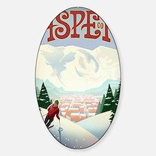 Retro Aspen Colorado Sticker (Oval)