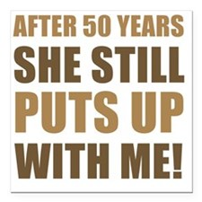 "50th Anniversary Humor F Square Car Magnet 3"" x 3"""