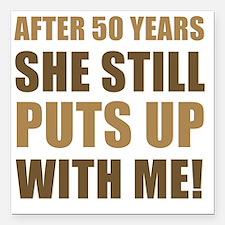 "50th Anniversary Humor F Square Car Magnet 3"" x 3"""