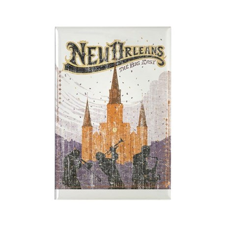 Faded French Quarter Rectangle Magnet