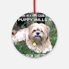 Dusty - Puppy Mill Survivor Round Ornament