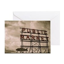 Pike Place Market Neon Sign With Clo Greeting Card