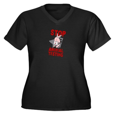 Stop Animal Testing Women's Plus Size V-Neck Dark