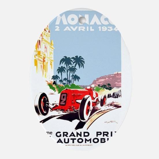 Antique 1934 Monaco Grand Prix Race  Oval Ornament