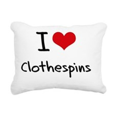 I love Clothespins Rectangular Canvas Pillow