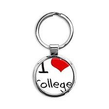 I love College Round Keychain