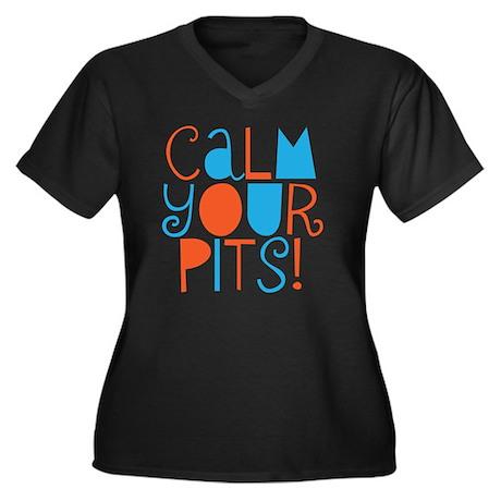 calm your pi Women's Plus Size Dark V-Neck T-Shirt