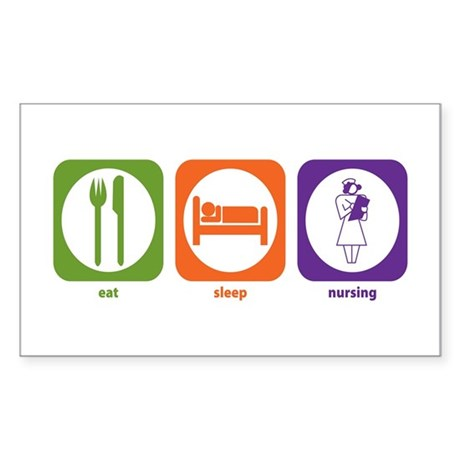 Eat Sleep Nursing Rectangle Sticker