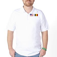 USA & Belgian Flags T-Shirt