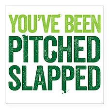 "pitch slapped 2 Square Car Magnet 3"" x 3"""