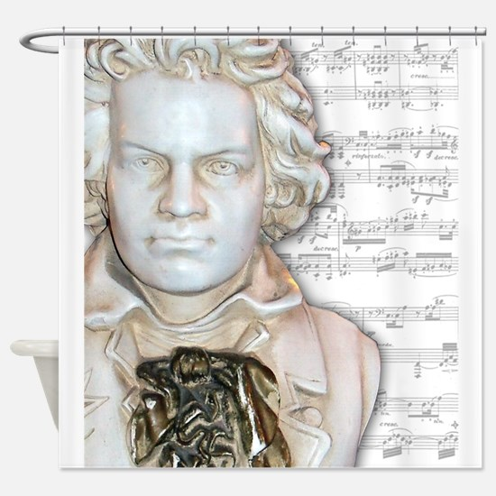 Beethoven Bust and music Shower Curtain