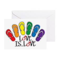 Love Is Love Flip Flops Gay Greeting Card