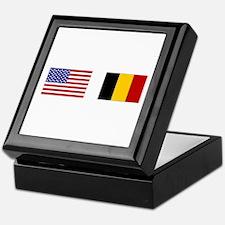USA & Belgian Flags Keepsake Box