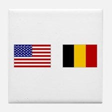 USA & Belgian Flags Tile Coaster