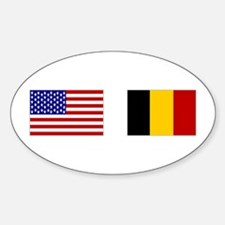 USA & Belgian Flags Oval Decal