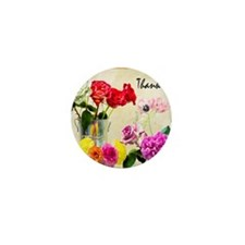 Thank You Flowers In Vase Mini Button