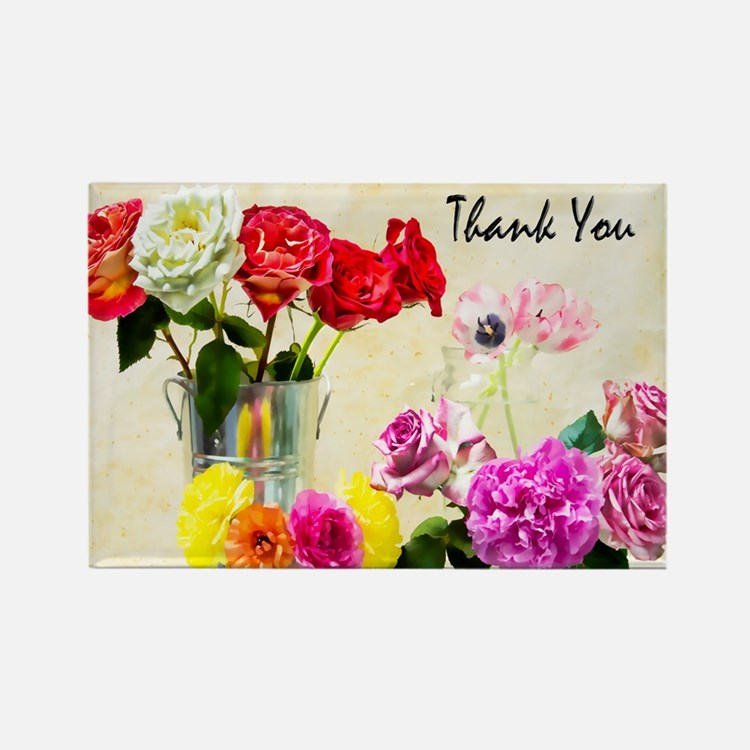 Thank You Flowers In Vase Rectangle Magnet