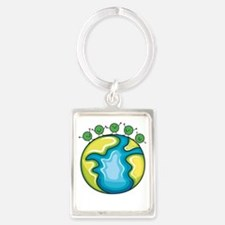 Peas on Earth (dark) Portrait Keychain
