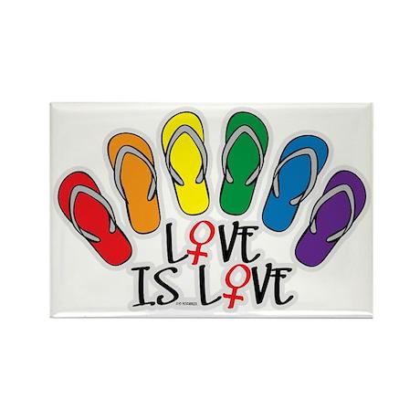 Love Is Love Flip Flops Lesbian Rectangle Magnet