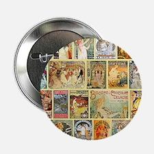 """Art Nouveau Advertisements Collage 2.25"""" Button"""