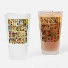 Art Nouveau Advertisements Collage Drinking Glass