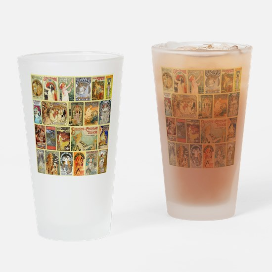 Art Nouveau Advertisements Collage Drinking Glass