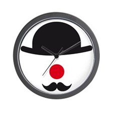 hat, red nose and mustache, clown face  Wall Clock