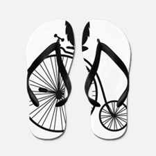owl on old vintage bicycle Flip Flops