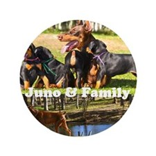 """Juno and her Doberman Puppies 3.5"""" Button"""