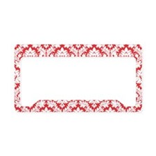 Poppy Red Damask License Plate Holder
