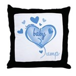I Love My Bump Blue Throw Pillow