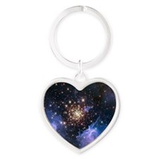 Starburst Cluster Celestial Firewor Heart Keychain