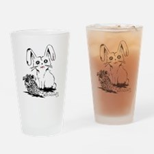 Zombie Bunny Rabbit with Skeleton C Drinking Glass