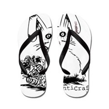 Zombie Bunny Rabbit with Skeleton Carro Flip Flops