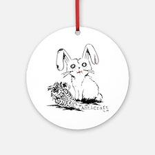 Zombie Bunny Rabbit with Skeleton C Round Ornament