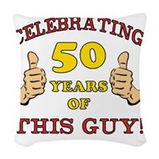 50th Birthday Gift For Him Woven Throw Pillow