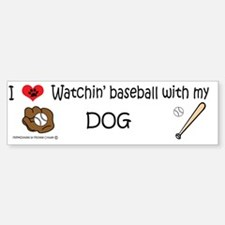 watchin baseball with my dog Bumper Bumper Sticker