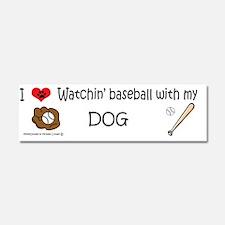 watchin baseball with my dog Car Magnet 10 x 3