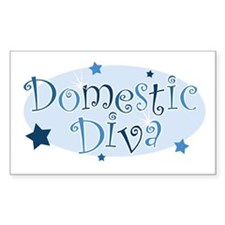 """Domestic Diva"" [blue] Rectangle Decal"