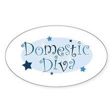 """""""Domestic Diva"""" [blue] Oval Decal"""